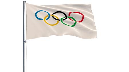10 DECEMBER 2017: 3D illustratie van de vlag van de Olympische Spelen op een vlaggenmast wapperen in de wind op een witte achtergrond, 3D-rendering
