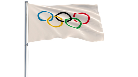 DECEMBER 10, 2017: 3D illustration of Olympic Games flag on a flagpole fluttering in the wind on a white background, 3d rendering