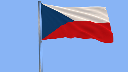 Isolate flag of Czech Republic on a flagpole fluttering in the wind on a blue background, 3d rendering Foto de archivo