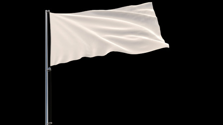 Isolate White flag on a flagpole fluttering in the wind on a black background, 3d rendering Stock Photo
