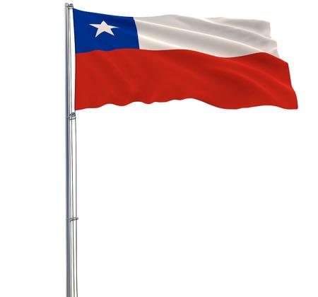 Isoleer vlag van Chili op een vlaggenmast die in de wind op een witte achtergrond, het 3d teruggeven fladderen