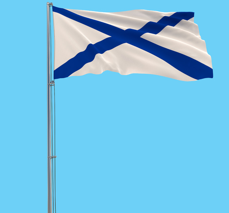 St. Andrews flag on a flagpole fluttering in the wind on a blue background, 3d rendering