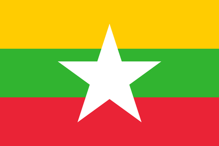 Flag of Myanmar in national colors with a white star, vector