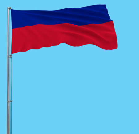 Isolate flag of Haiti on a flagpole fluttering in the wind on a blue background, 3d rendering Stock Photo