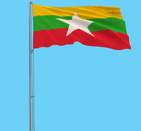 Isolate flag of Myanmar on a flagpole fluttering in the wind on a blue background, 3d rendering