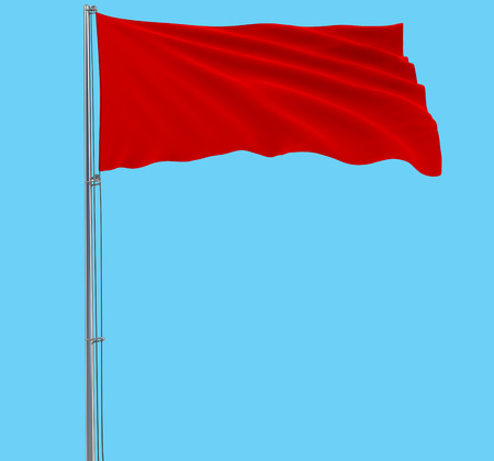 Isolate red flag on a flagpole fluttering in the wind on a blue background, 3d rendering.