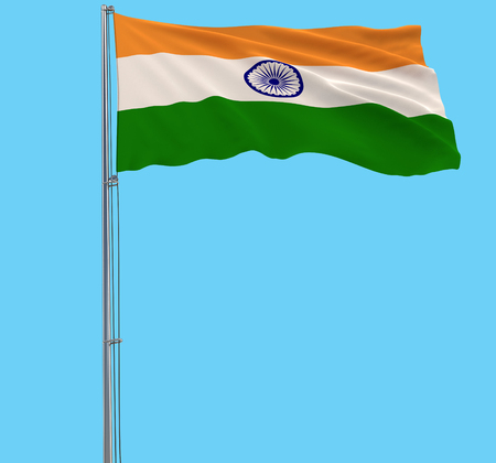 Isolate flag of India on a flagpole fluttering in the wind on a blue background, 3d rendering