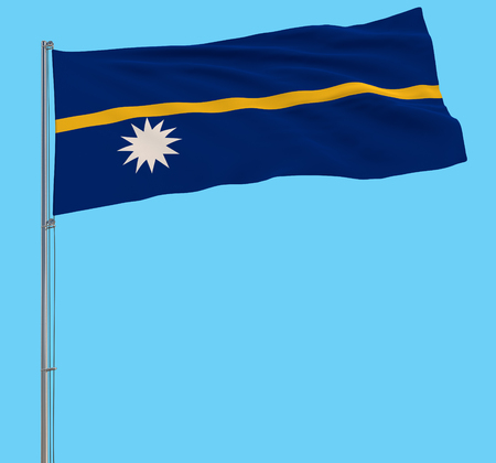 Isolate flag of Nauru on a flagpole fluttering in the wind on a blue background, 3d rendering