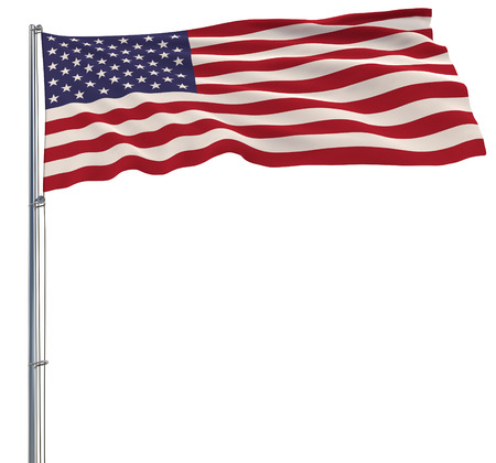 Isolate flag of USA on a flagpole fluttering in the wind on a white background, 3d rendering 写真素材