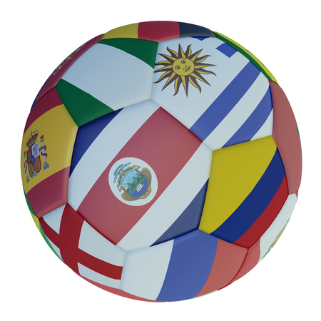 Isolated soccer ball with colors flags of states participating in the 2018 on a white background, 3d rendering