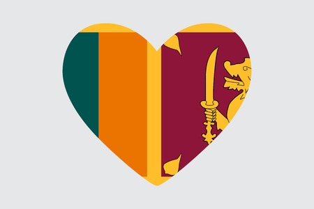Heart in the symbol of the flag of Sri Lanka.