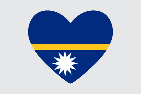 Heart in the color of the flag of Nauru. Illustration