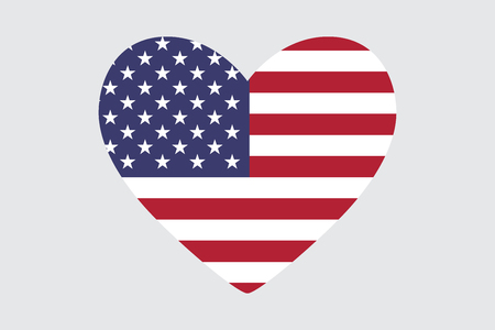 Heart of the USA flag colors and symbols, vector