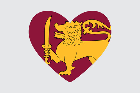 Heart in the symbol of the flag of Sri Lanka, vector Illustration
