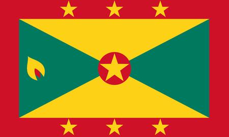 Flag of Grenada in national colors, vector illustration.