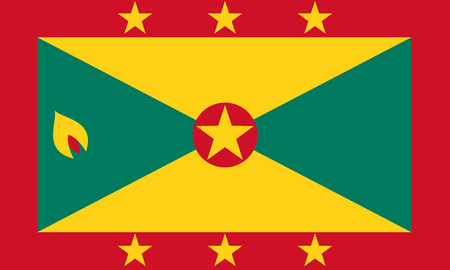 Flag of Grenada in national colors, vector illustration.
