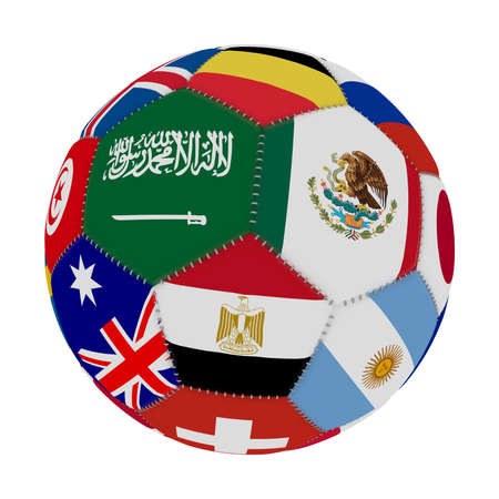 Soccer ball with the color of the flags of the countries participating in the world on football, in the middle Saudi Arabia, Mexico and Egypt, 3D rendering