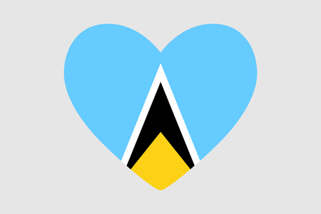 Heart of the colors of the flag of Saint Lucia, vector