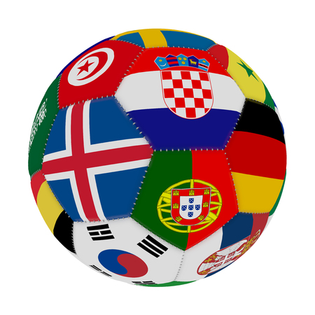 Soccer ball with the color of the flags of the countries participating in the world on football, in the middle Iceland, Croatia and Portugal, 3D rendering