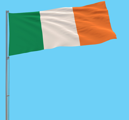 Isolate large cloth of Ireland on a flagpole fluttering in the wind on a blue background, 3d rendering Stock Photo