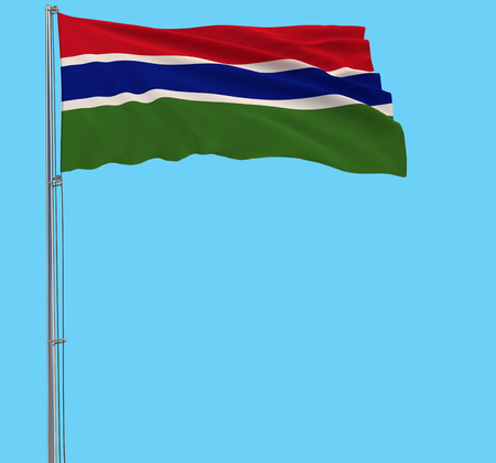 Isolate large cloth of Gambia on a flagpole fluttering in the wind on a transparent background, 3d rendering
