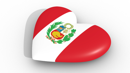 Heart in the colors of Peru flag, on a white background, 3d rendering side Foto de archivo - 94844081