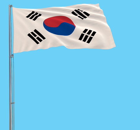 Flag of South Korea on the flagpole fluttering in the wind on blue background, 3d rendering 스톡 콘텐츠
