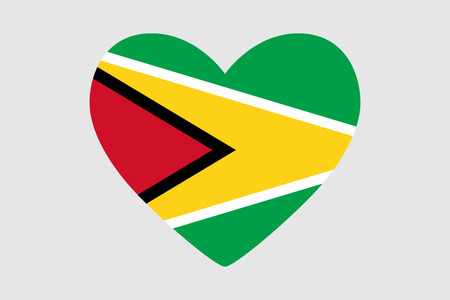 Heart with colors of the flag of Guyana