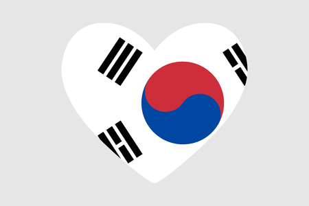 Heart of the colors of the flag of South Korea, vector