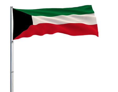 Flag of Kuwait on the flagpole fluttering in the wind on white background, 3d rendering