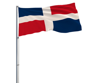 Flag of Dominican on the flagpole fluttering in the wind on white background, 3d rendering Banco de Imagens