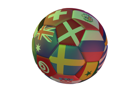 Isolated realistic football with flags of countries participating in the Soccer Cup, in the center of Sweden, Denmark, Australia and Russia, 3d rendering 写真素材