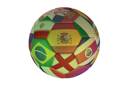 Isolated realistic football with flags of countries participating in the Soccer Cup, in the center of Spain, Brazil, England, Costa Rica, Nigeria and Iran 3d rendering 写真素材
