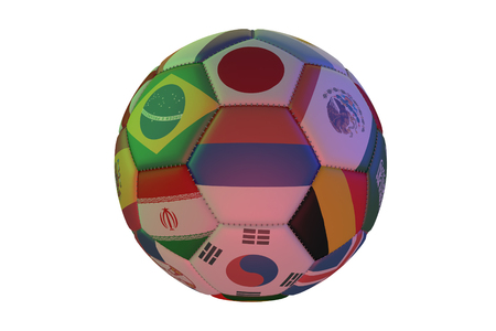 Isolated realistic football with flags of countries participating in the Soccer Cup, in the center of Russia, Brazil, Japan, Korea, Iran, Germany and Mexico, 3d rendering
