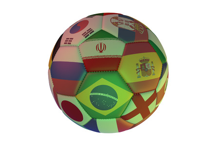 Isolated realistic football with flags of countries participating in the Soccer Cup, in the center of Spain, Brazil, Iran, England, Russia and Japan, 3d rendering