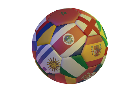 Isolated realistic football with flags of countries participating in the Soccer Cup, in the center of Costa Rica, England, Spain, Nigeria, Uruguay, Colombia and Morocco, 3d rendering Stock Photo