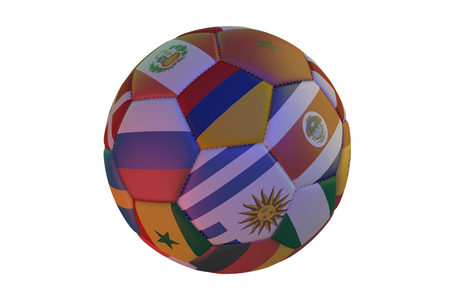 Isolated realistic football with flags of countries participating in the Soccer Cup, in the center of Colombia, Uruguay, Costa Rica, Senegal and Russia, 3d rendering