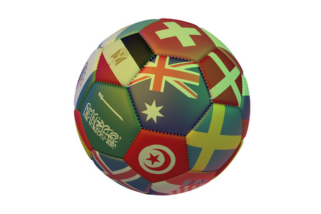 Isolated realistic football with flags of countries participating in the Soccer Cup, in the center of Australia, Switzerland, Denmark, Sweden, Tunisia, Saudi Arabia and Egypt, 3d rendering