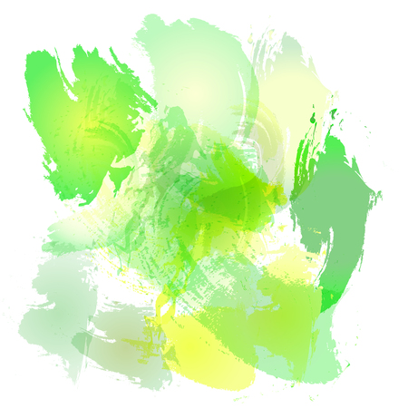 Imitation of strokes with a watercolor brush of yellow and green spring colors on a white paper, vector original brushes background Illustration