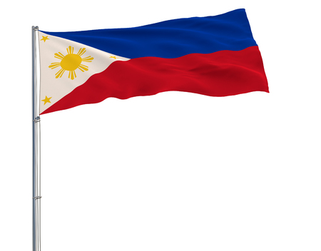 Flag of Philippines in peacetime on the flagpole fluttering in the wind on pure whitee background