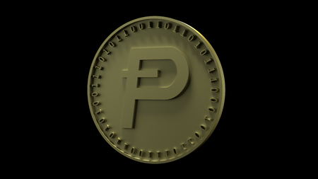 Gold coin with the symbol of Potcoin digital crypto currency and binary code stands on the edge, isolated on a black background, 3d rendering