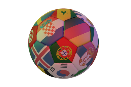 Isolated realistic football with flags of countries, in the center of Portugal, Germany, Croatia and Serbia, 3d rendering