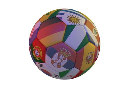 Isolated realistic football with flags of countries, in the center of Germany, Nigeria and Serbia, 3d rendering
