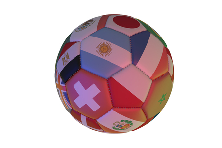 Isolated realistic football with flags of countries, in the center of Argentine, France, Poland and Switzerland, 3d rendering