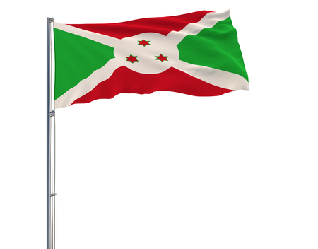Isolate flag of Burundi on a flagpole fluttering in the wind on a white background, 3d rendering Stock Photo