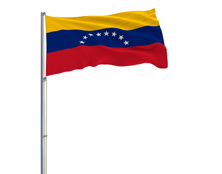 Flag of Venezuela on the flagpole fluttering in the wind on white background, 3d rendering 스톡 콘텐츠