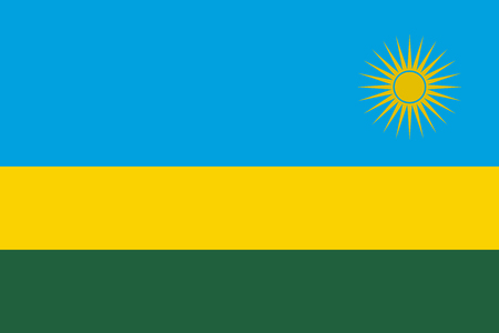 Flag in colors of Rwanda, vector image Illustration