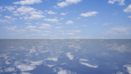Boundless lake with a reflection of the sky with clouds, 3D rendering