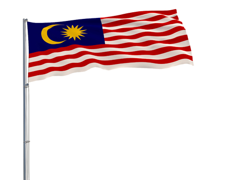 Isolate flag of Malaysia on a flagpole fluttering in the wind on a white background, 3d rendering