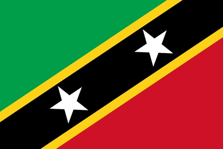 Flag of Federation of Saint Kitts and Nevis in official colors and proportions, vector image